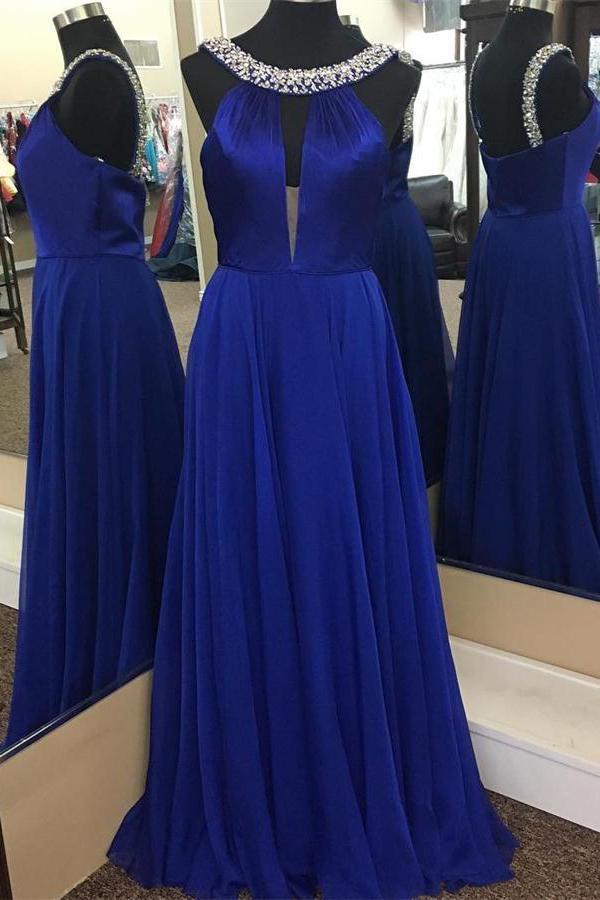 Simple Royal Blue And Silver Zipper Back Cheap Elegant Prom Dresses