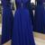 Simple Royal Blue And Silver Zipper Back Cheap Elegant Prom Dresses