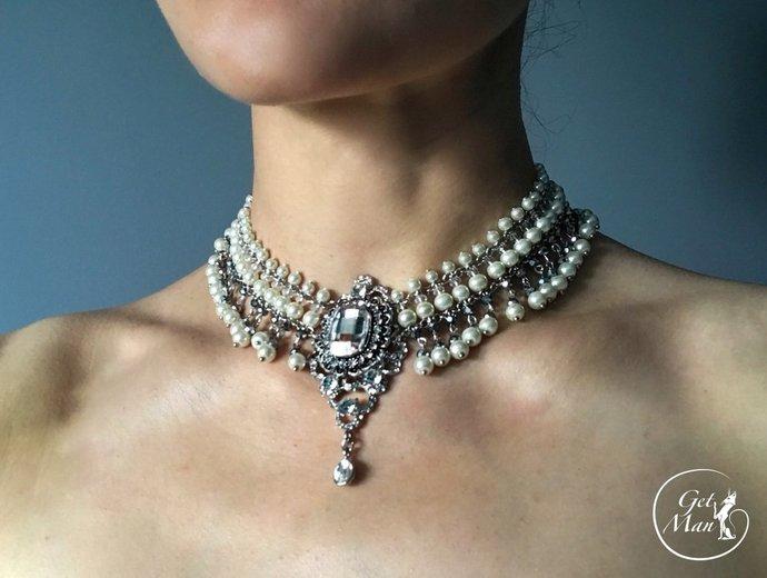 Crystal Wedding Choker Isadora, Bridal Pearl Choker, Wedding Pearl Necklace