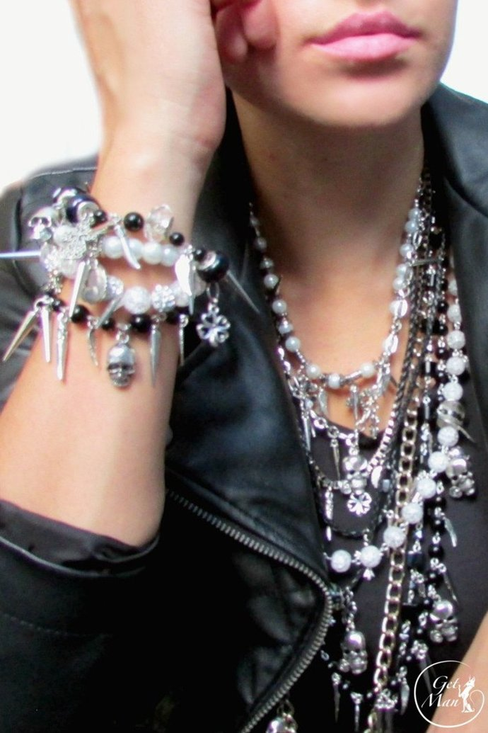 Rock Jewelry set, Rock Necklace, Rock Bracelet