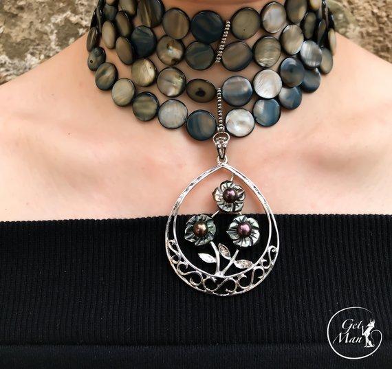 Gray Choker Nita, Mother of Pearl Necklace, Statement Wide Choker
