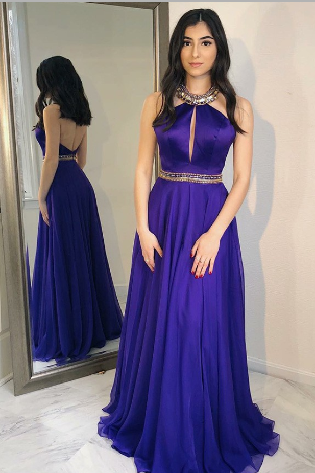 A-Line Halter Sweep Train Grape Chiffon Prom Dress with Beading