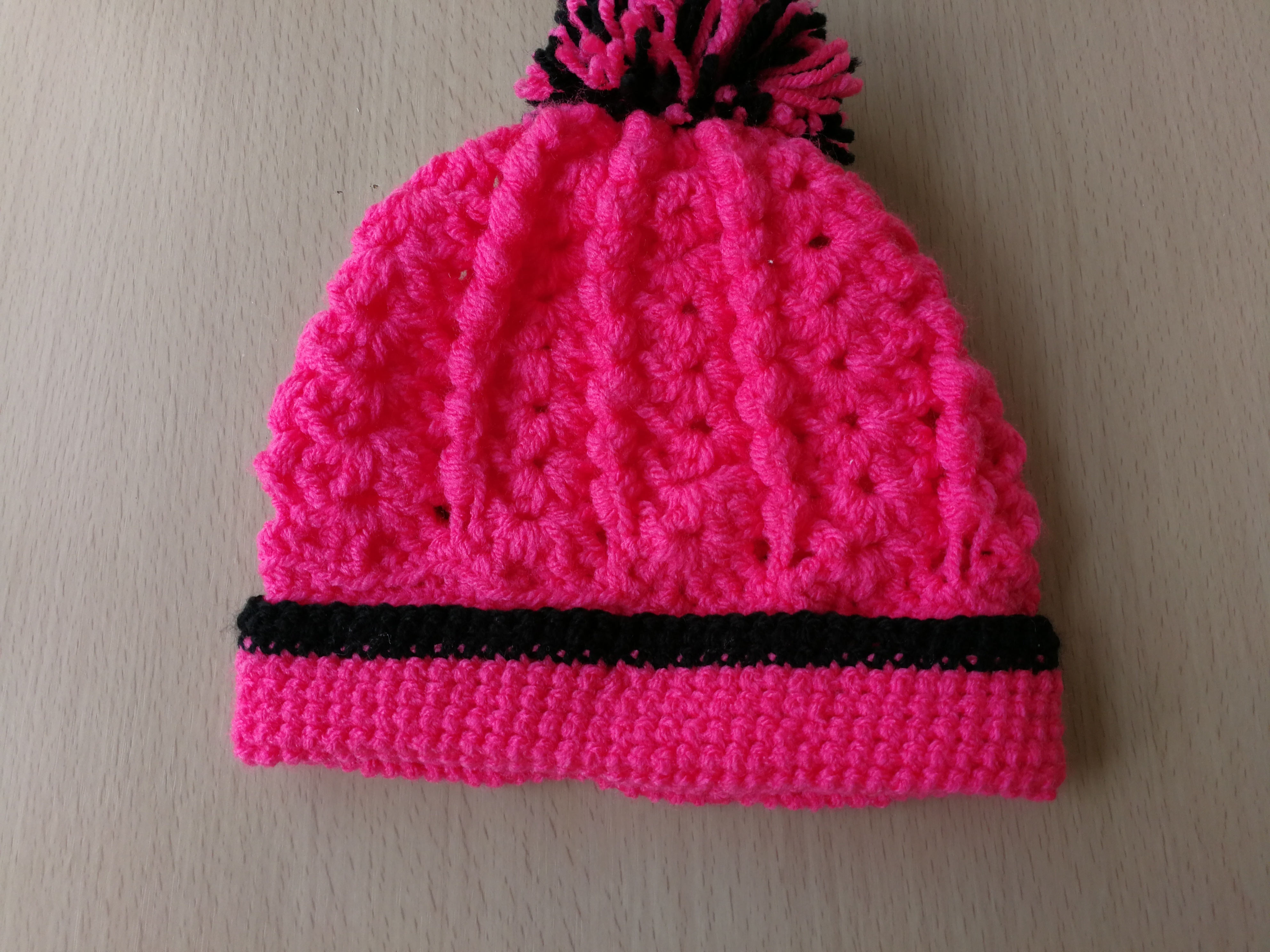 e8e1ccfd79b Bright pink and black babies beanie hat by Crazycrochetgran on Zibbet