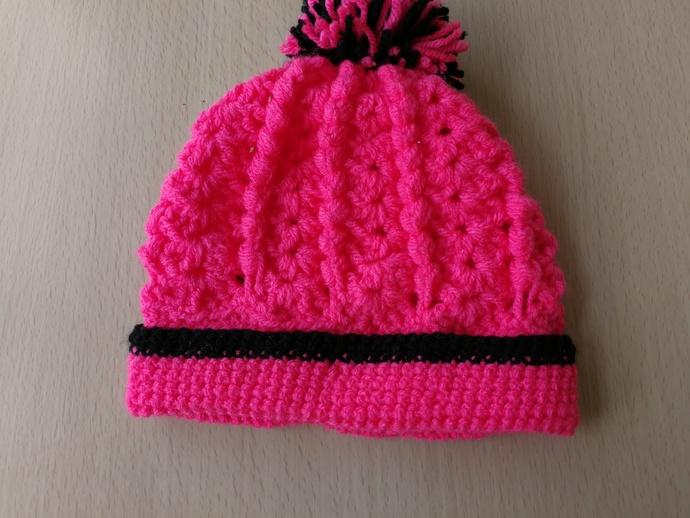 ecdaafa44f8 Bright pink and black babies beanie hat by Crazycrochetgran on Zibbet