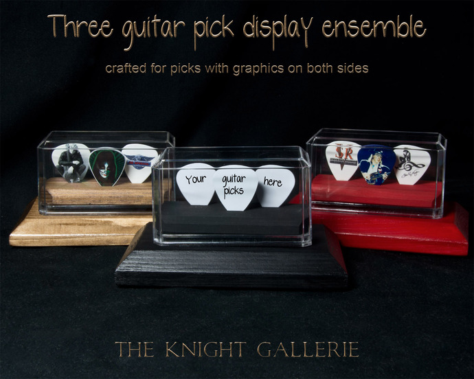 3 Guitar Pick Display Ensemble  (flat)