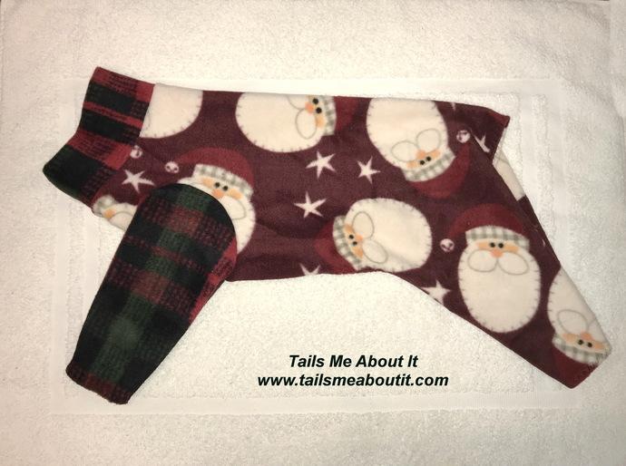 Ol' Saint Nick Fleece Dog Pajama - Small Dog Pajama - Christmas