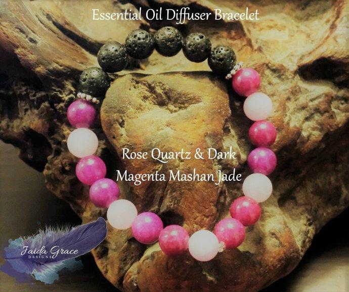Essential Oil Diffuser Bracelet - Rose Quartz & Dark Magenta Mashan Jade