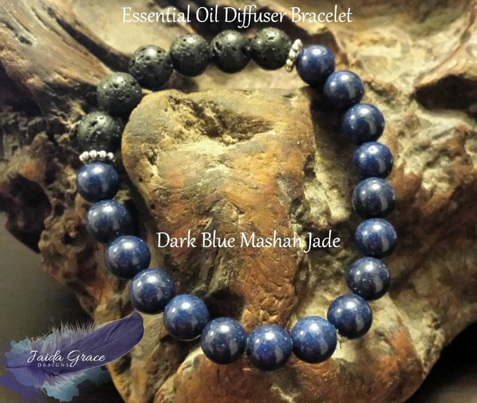 Essential Oil Diffuser Bracelet - Mashan Jade Dark Blue