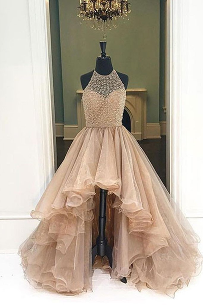 12fc1efd943c Champagne Beading Organza Prom Dresses High Low Formal Dress Ball Gown 2019