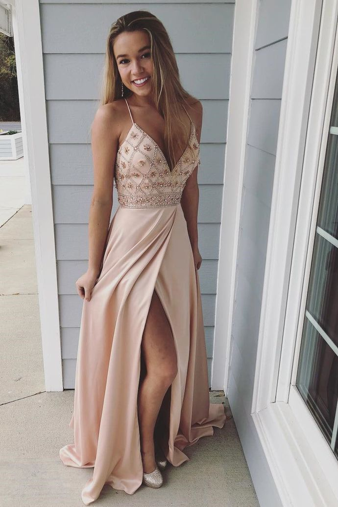 2019 Pink Spaghetti Straps Beaded Long Prom Dress,Sheath Evening Dresses with