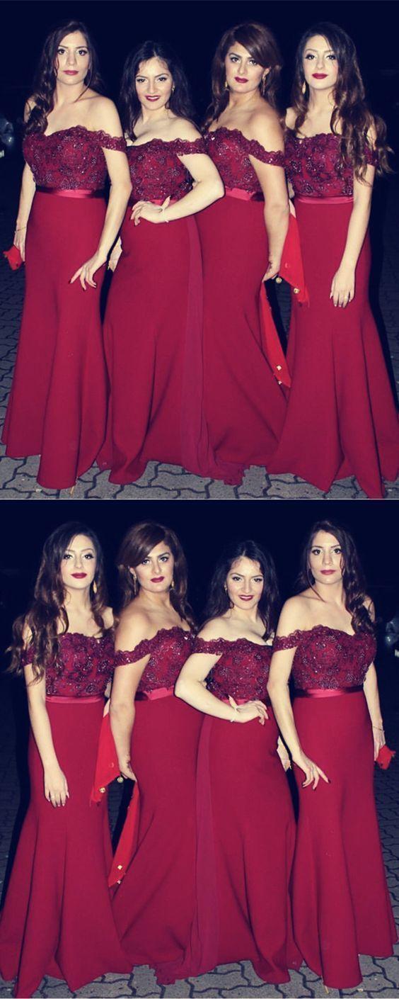 Burgundy Bridesmaid Dresses Mermaid Sweetheart Off Shoulder Formal Gowns