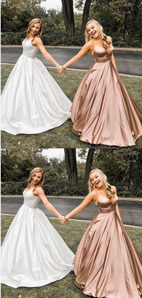 81fcd217e2d8f A-Line V-neck Spaghetti Straps Rose Gold Satin Prom Dresses ,Cheap Prom  Dresses