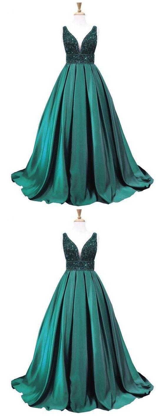 spaghetti straps formal dark green beaded long prom dress