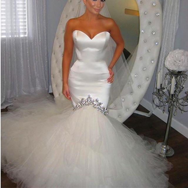 satin wedding dress,mermaid wedding dress,ruffles dress,corset wedding