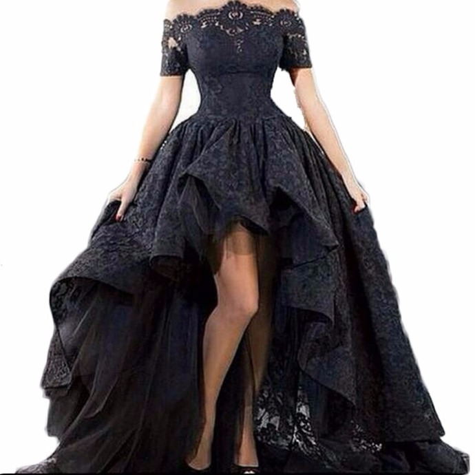 Black Lace Strapless Off The Shoulder Short Sleeves High Low Prom Dresses 2019