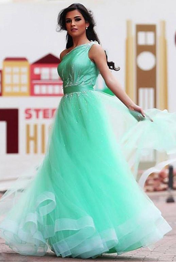 Sexy One Shoulder Green Long Evening Dresses, Tulle Prom Party Gowns