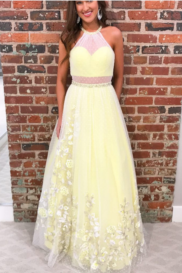 Sexy O Neck Long Prom Dresses Appliques Tulle Homecoming Dress