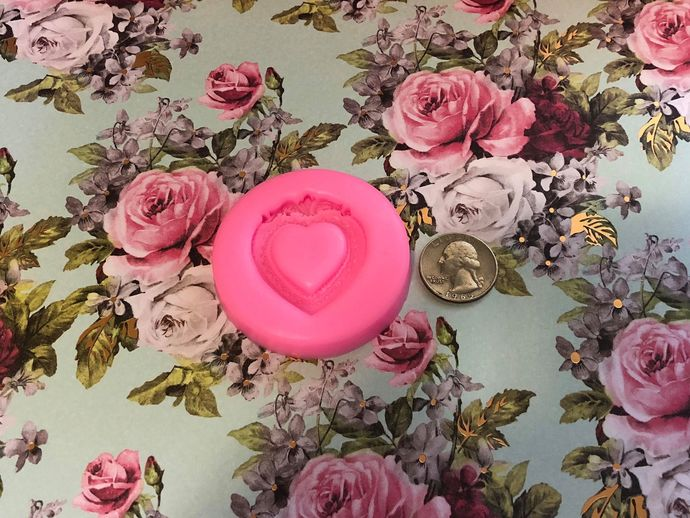Item #M084 ~ Heart Frame Mold ~ 1 pc ~ Silicone Mold