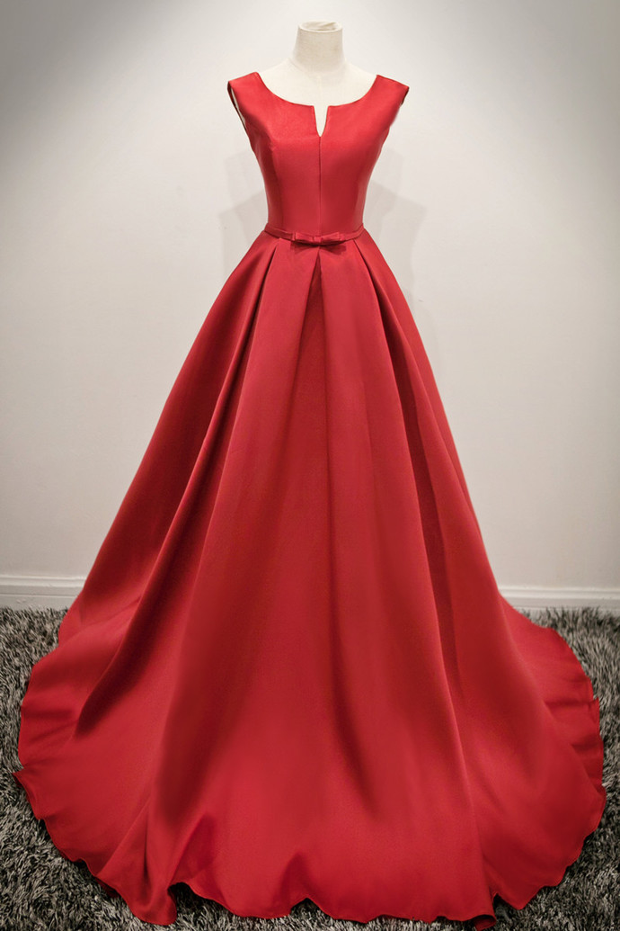 Red  Satin Long Formal Dress, Pretty Party Dress 2019, Cute Formal Gown