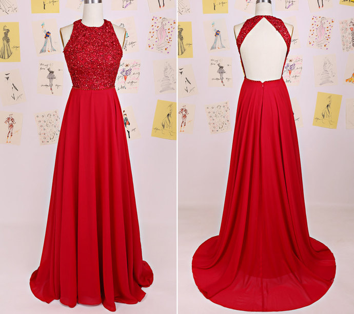 Red Halter Chiffon Backless Long Party Dress, Red Junior Prom Dress 2019