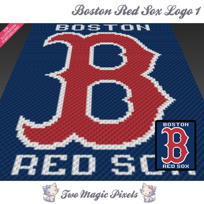 Boston Red Sox Logo 1 crochet blanket pattern; c2c, cross stitch graph; pdf