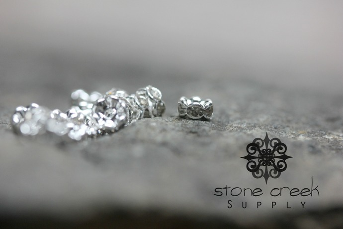5mm Silver Plated - GRADE AAA Czech Crystal Rhinestone Rondelle Spacers -
