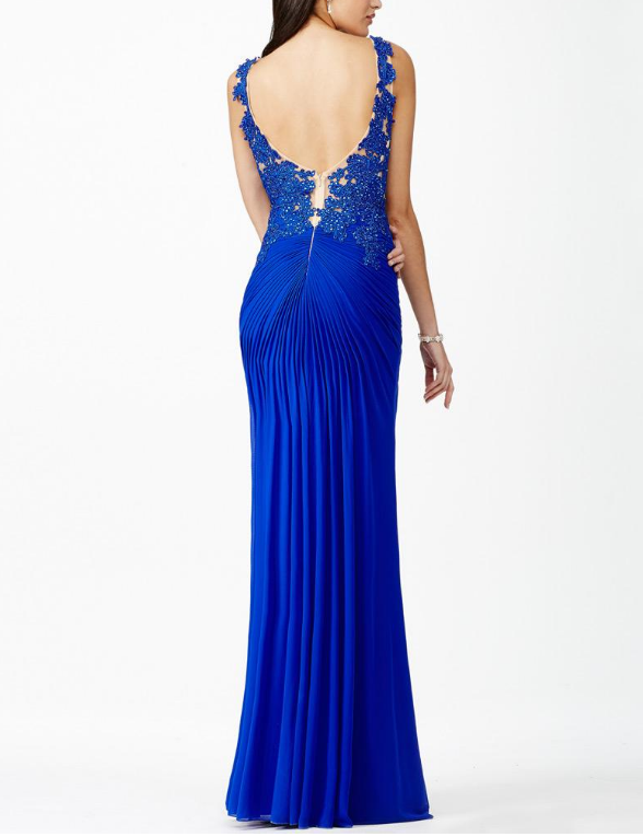 Chiffon Bateau Neckline Sheath Evening Dresses With Rhinestones Lace Appliques