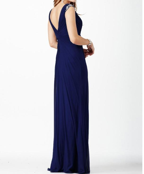 V-Neck Sheath Prom Dresses With Beads Of Rhinestones Fashionable Chiffon Dresses