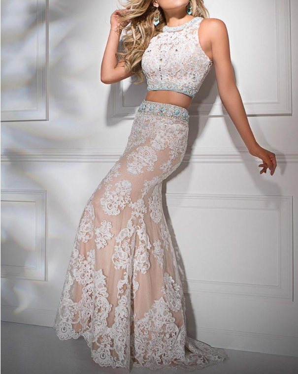 Two-piece Mermaid Evening Dresses With Beaded Lace Appliques Satin Jewel