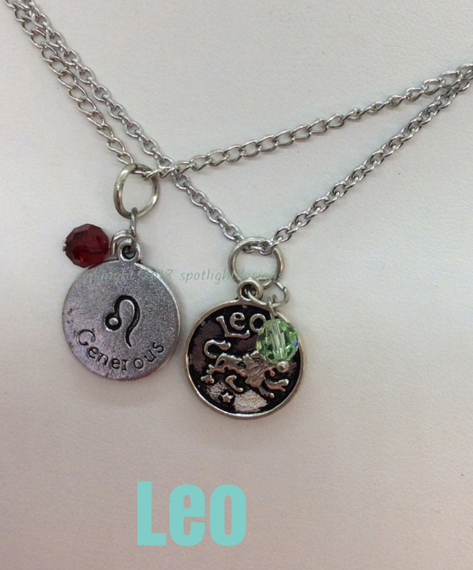 Leo Zodiac Birthstone Charm Style Necklace