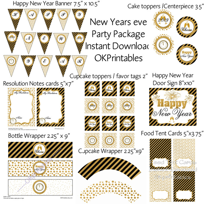 2019 New Year's Eve Party package- Signs, tent card, cupcake toppers, wrapper,