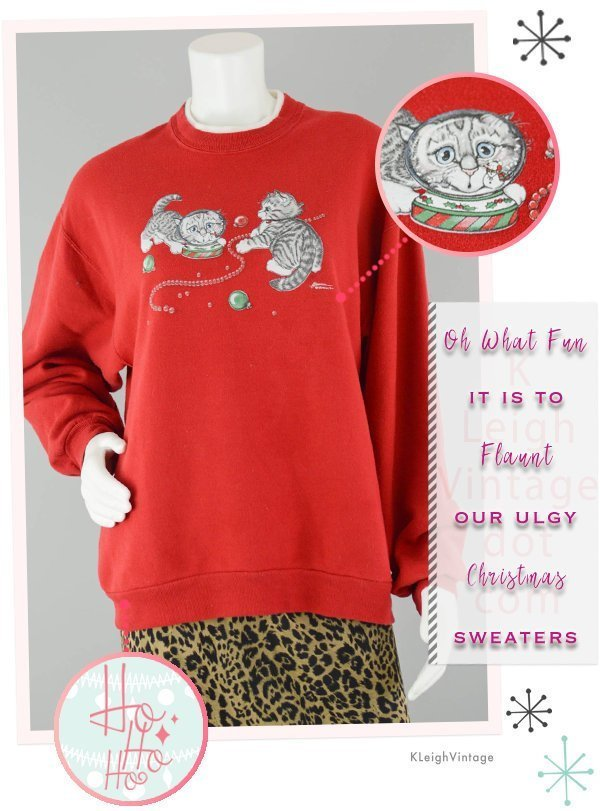 Ugly Christmas Sweatshirt Vintage, Red Pull Over Sweatshirt with Christmas Cats,