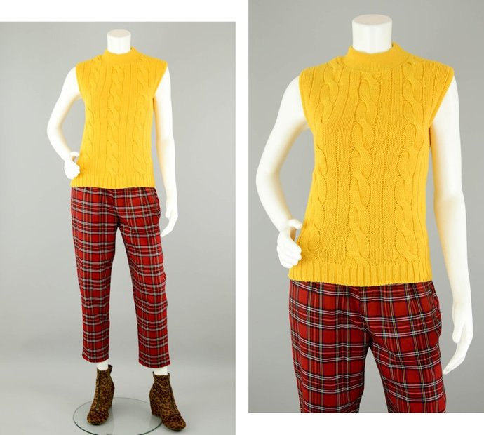 90s  Sleeveless Turtleneck Sweater Vintage, Yellow Chunky Cable Knit Fishermen
