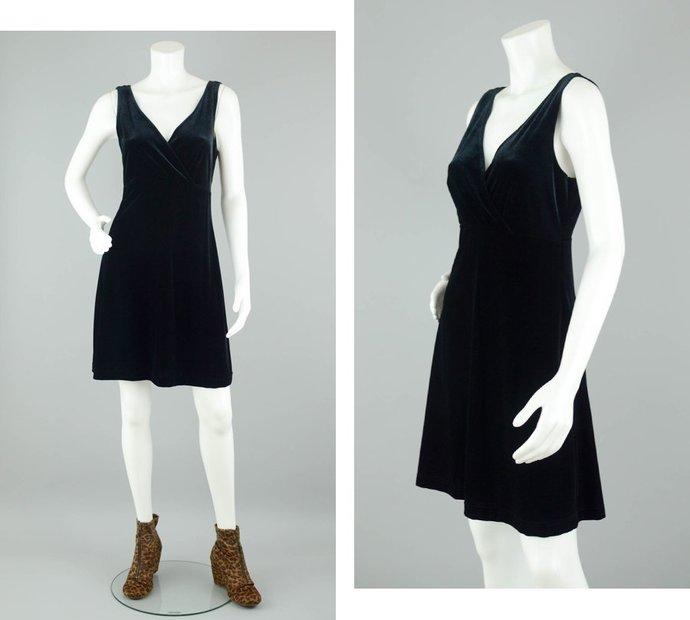 90s Black Velvet Dress Vintage, Little Black Dress Sleeveless, 90s Goth Witchy