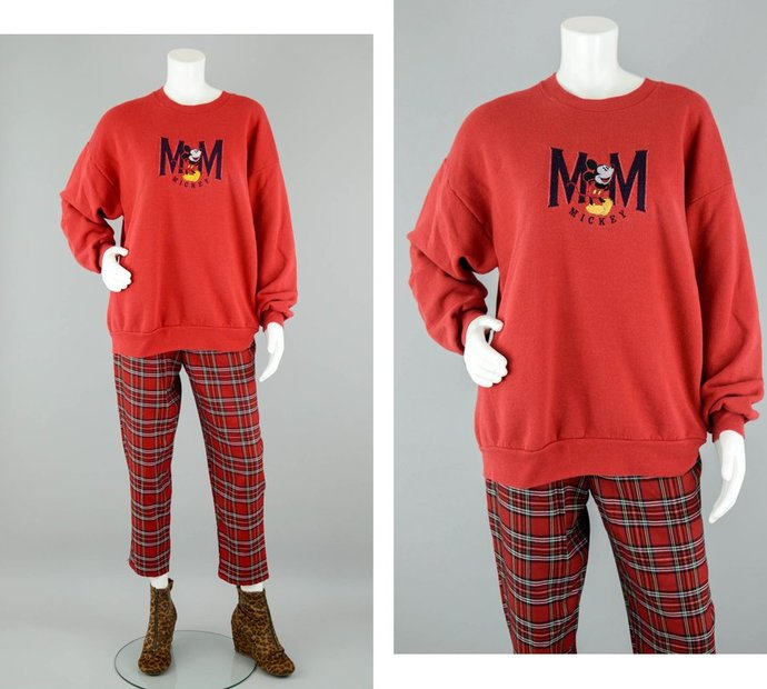 80s Mickey Mouse Sweatshirt Vintage, Women's Extra Large