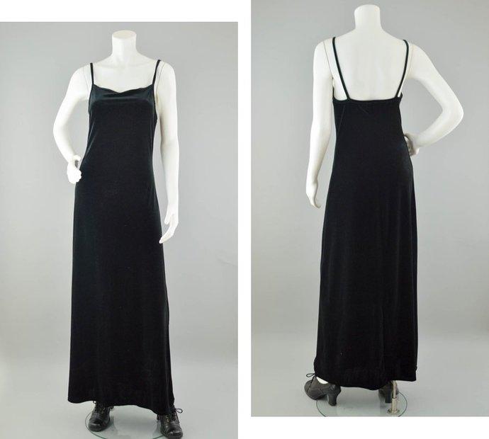 90s Velvet Dress Vintage, Long Black Velvet Maxi Dress, Spaghetti Strap Dress,
