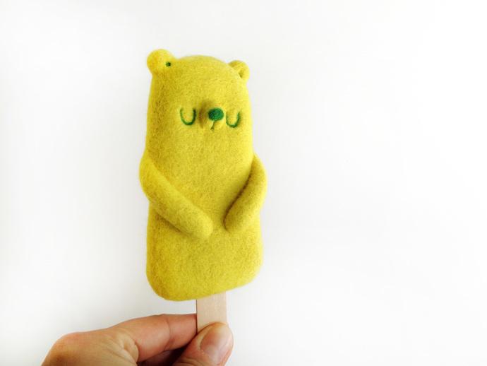 Popsicle Bear Lemon - needle felted Art Toy,  kawaii popsicle soft sculpture