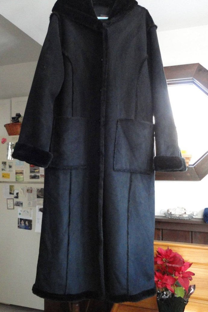 Vintage Ladies Long Coat Black Suede Faux Fur Lining Hooded Coat Size Extra