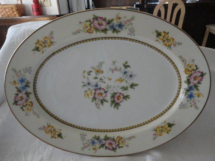 Noritake Serving Platter Wild Fleur Pattern Porcelain Fine China