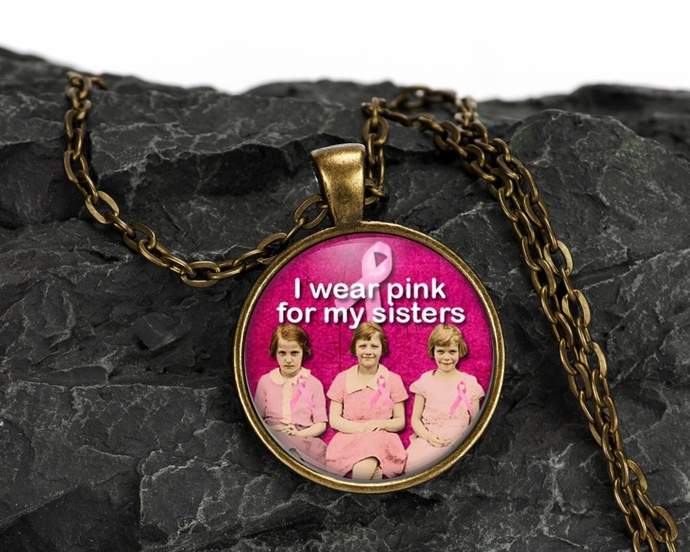 Breast cancer awareness jewelry.  Altered art pendant necklace, gift under $20,