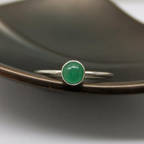 Emerald Ring in Sterling Silver - Barely There Ring