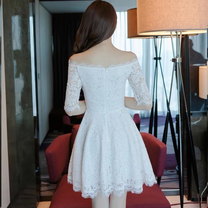 White Homecoming Dress,Lace Homecoming Dresses,Off Shoulder Prom Short Dresses