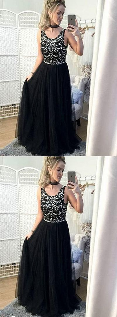 A-Line Round Neck Black Tulle Long Prom Dress with Beading, princess long prom