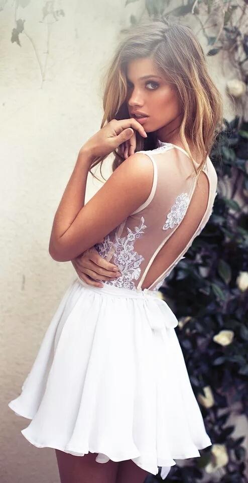 Deep V Neck Lace Homecoming Dress,Short Prom Dress BD1767