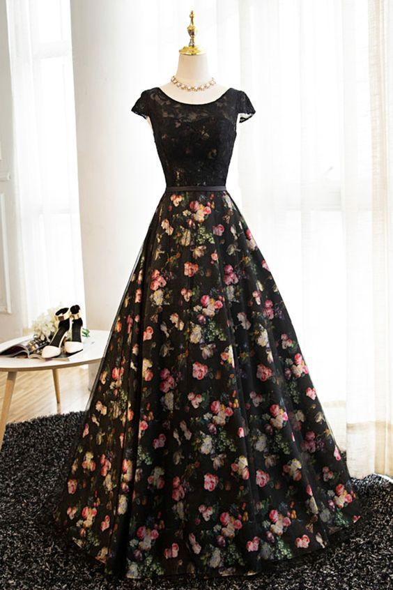 Floral Satin Black Long Prom Dress 2019, Charming Gown 2019