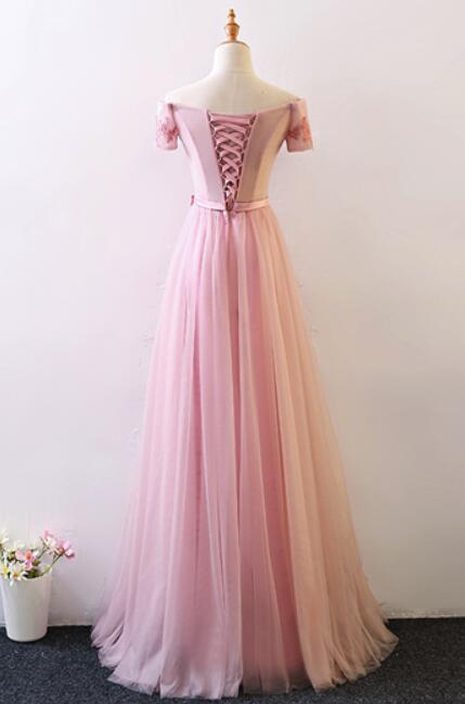 Pink Lovely Prom Dress, Pink Junior Prom Dress, Wedding Party Dress