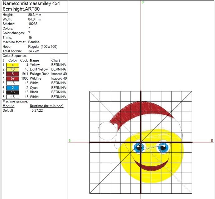 Christmas emoji machine embroidery design instant digital download pattern