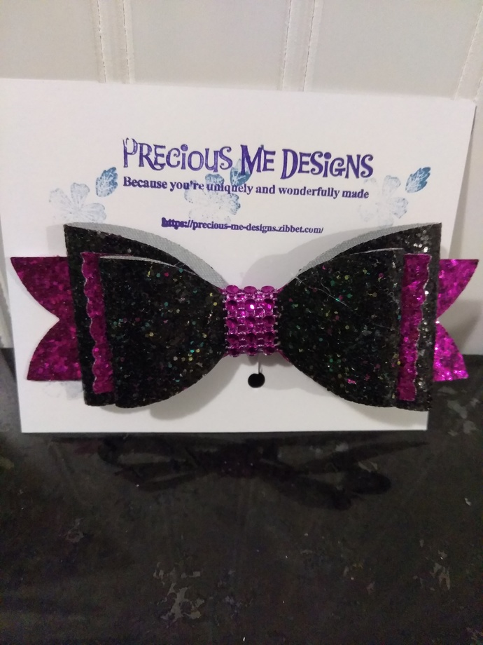 Black and Fuchsia Glittery Leatherette Bow