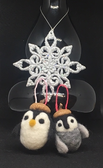 Needle Felted Penguin Ornament Adult and Chick