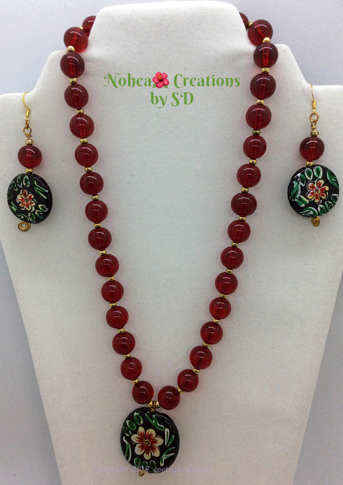 Nohea 🌺 Creations OOAK  Red Floral Motif Glass Bead Necklace and Earring Set